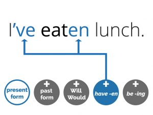 example of the present perfect: I've eaten lunch. (have -en) and icons